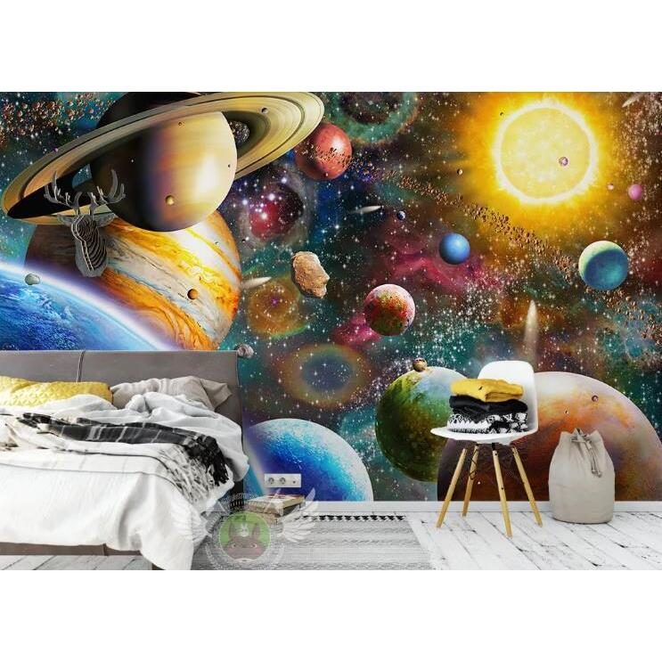 3D Hand Drawn Space Solar System Planet Wall Mural Wallpaper LQH 326