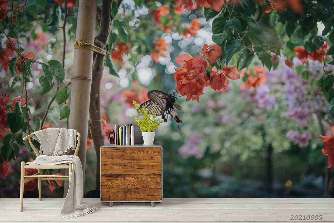 3D Red Floral Tree Butterfly Wall Mural Wallpaper LQH 180