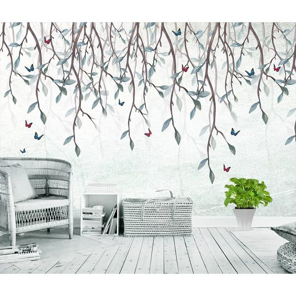 3D Watercolor Branch Leaf Butterfly Wall Mural Wallpaper LQH 28