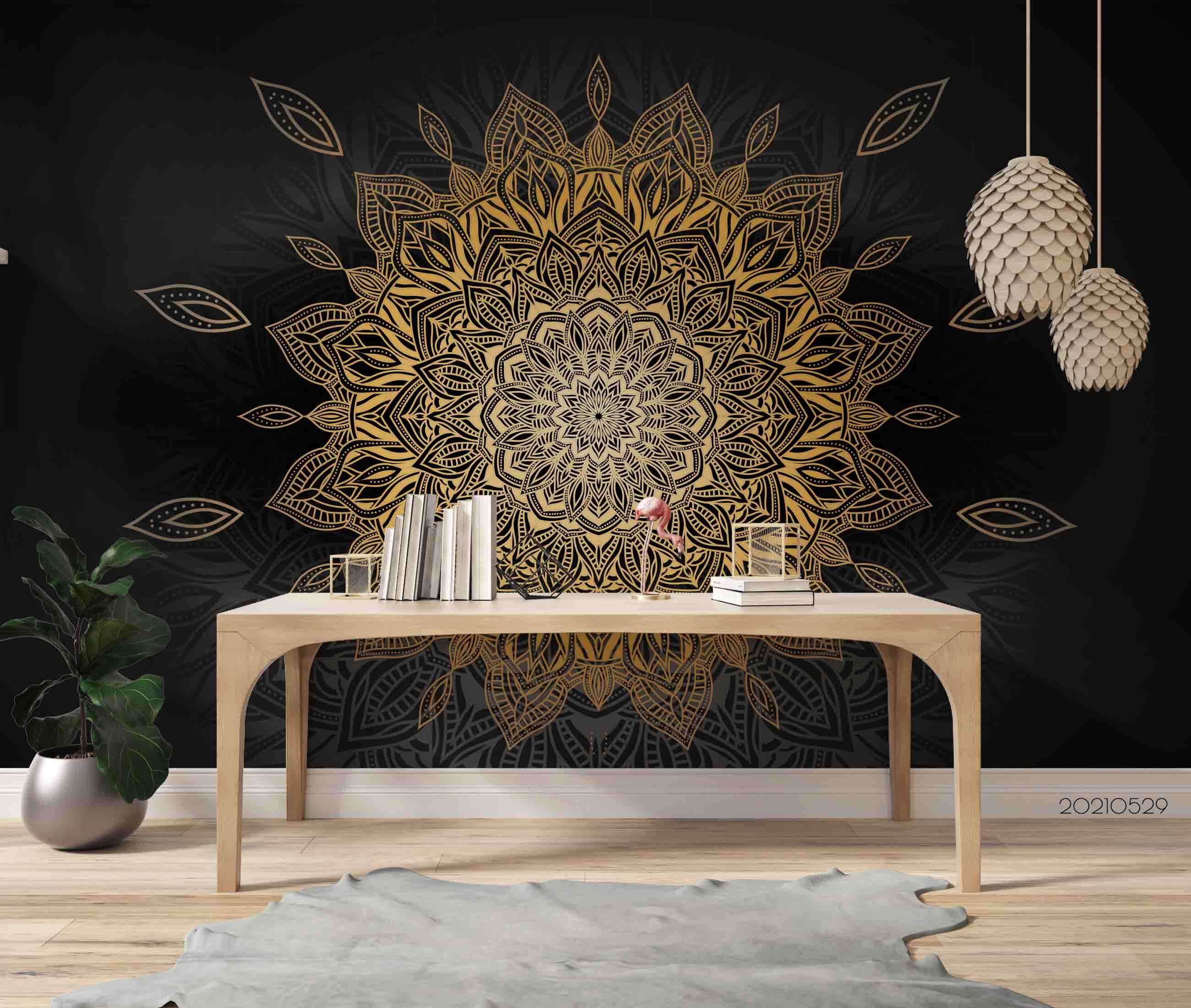 3D Luxury Mandala Background Wall Mural Wallpaper SWW536