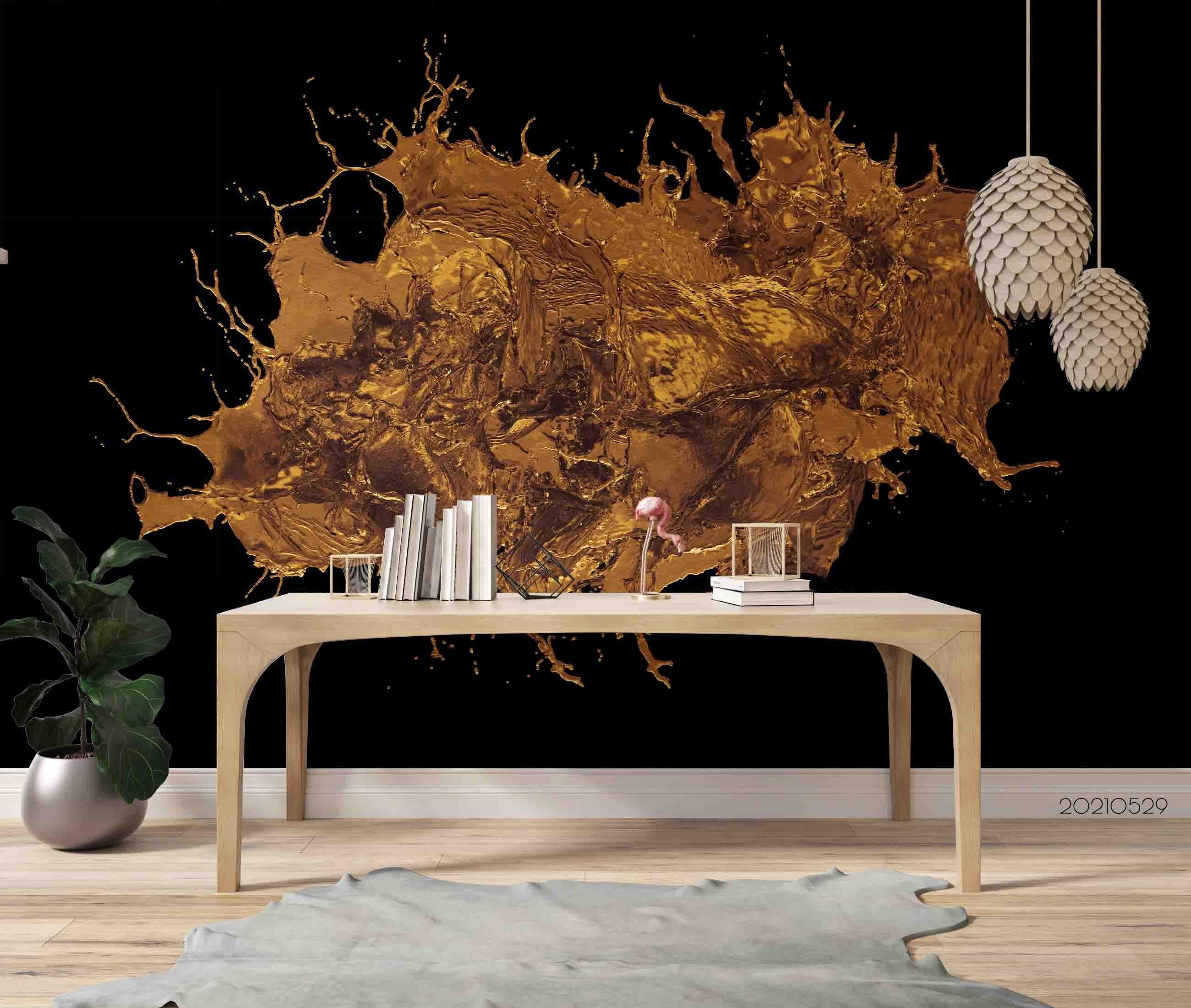 3D Abstract Golden Spraying Black Background Wall Mural Wallpaper SWW542