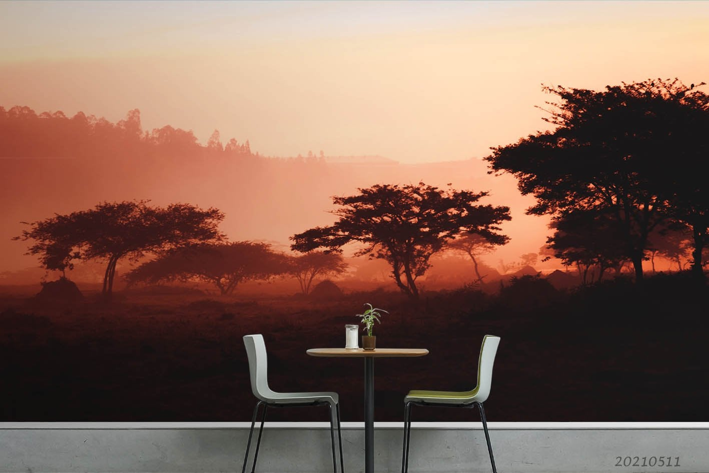 3D Sunset Sky Forest Tree Landscape Wall Mural Wallpaper LQH 126