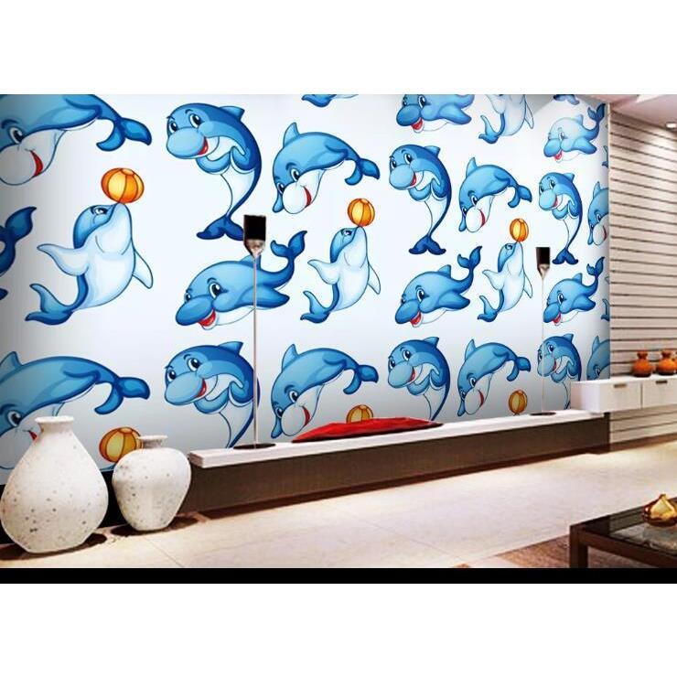 3D Hand Drawn Animal Blue Dolphin Wall Mural Wallpaper LQH 381
