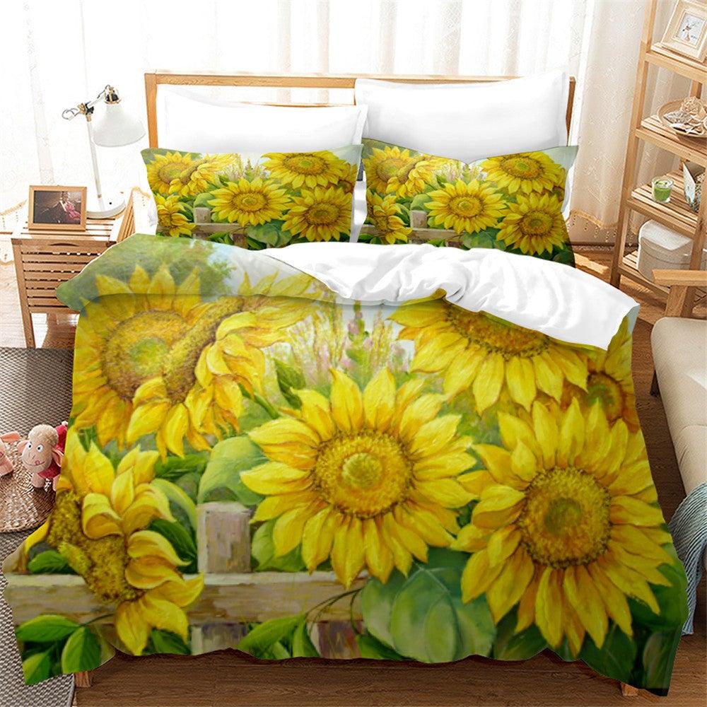3D Sunflower Floral Quilt Cover Set Bedding Set Duvet Cover Pillowcases 112