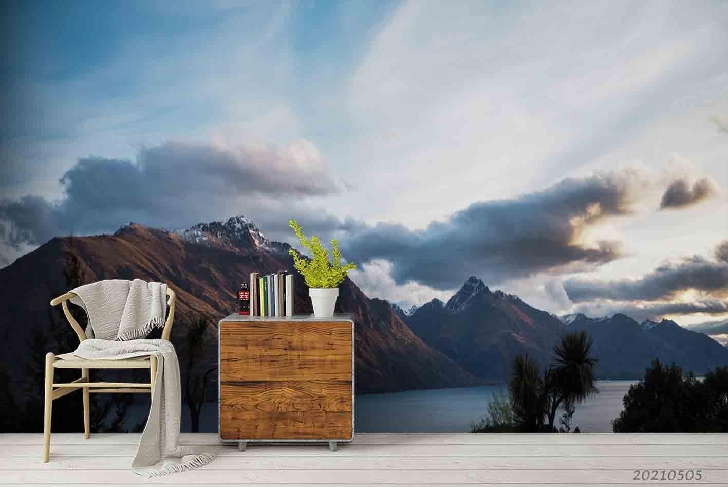 3D Sky Cloud Mountain Sea Landscape Wall Mural Wallpaper LQH 195