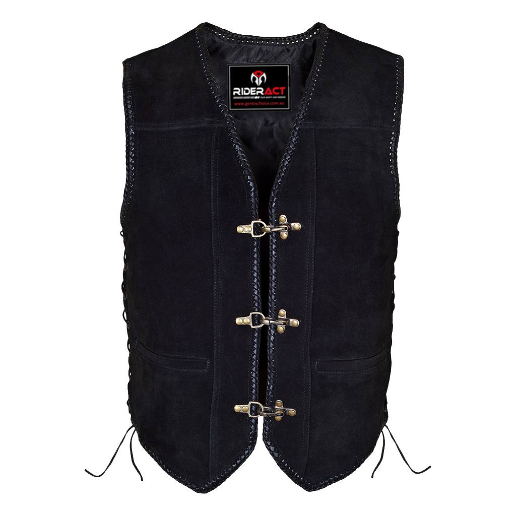 RIDERACT™ Suede Leather Vest Black Triple Clasp