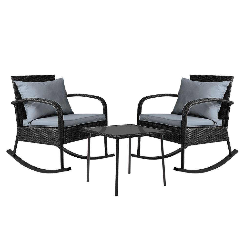 NNEDSZ Gardeon 3 Piece Outdoor Chair Rocking Set - Black