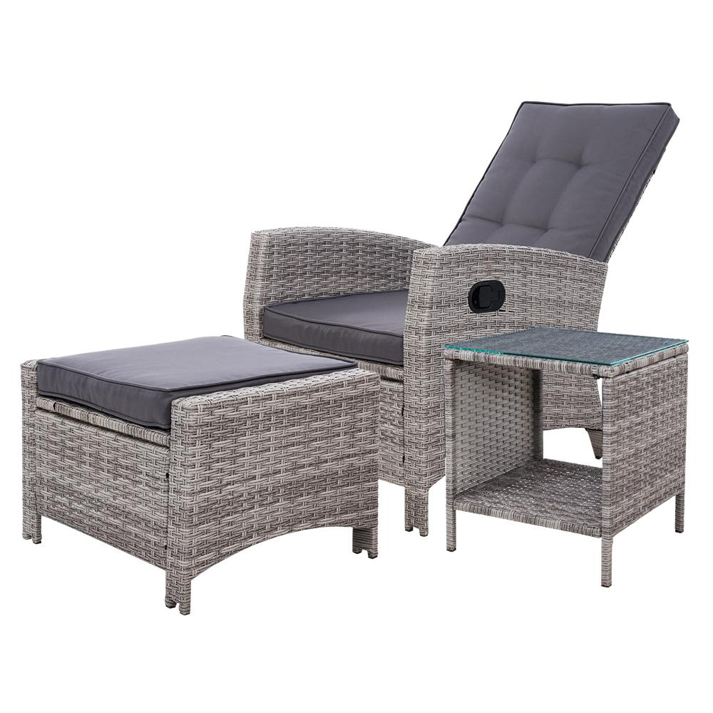 NNEDSZ Gardeon Outdoor Setting Recliner Chair Table Set Wicker lounge Patio Furniture Grey