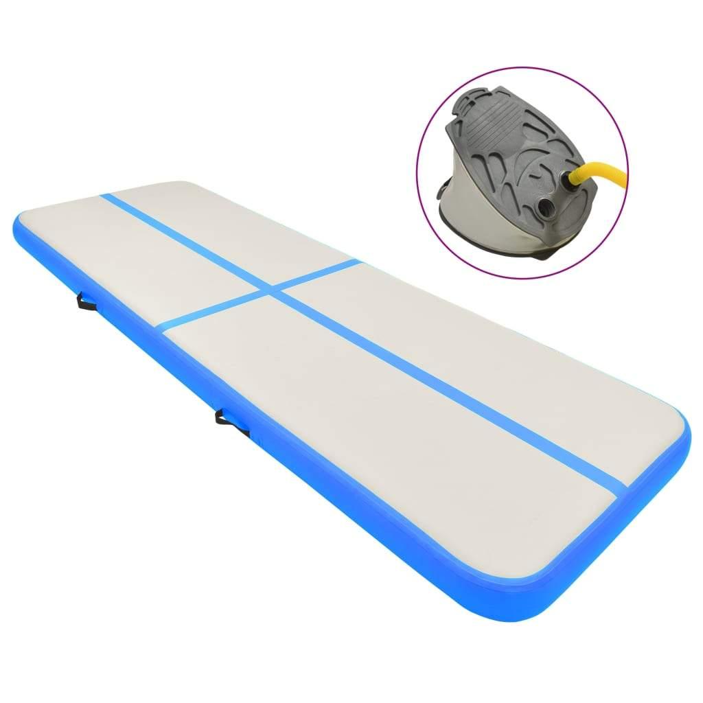 vidaXL Inflatable Gymnastics Mat with Pump 400x100x15 cm PVC Blue