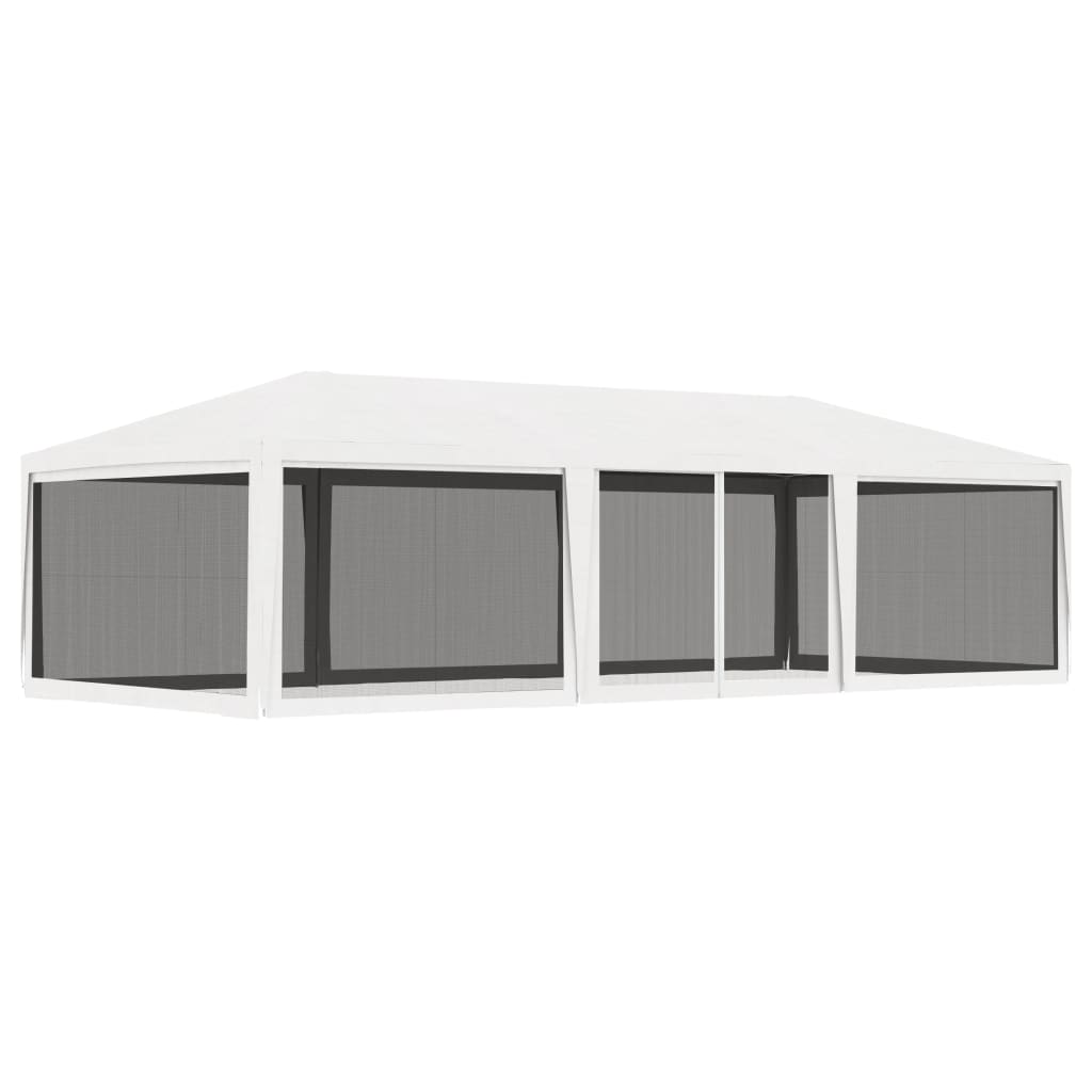 vidaXL Party Tent with 4 Mesh Sidewalls 4x9 m White