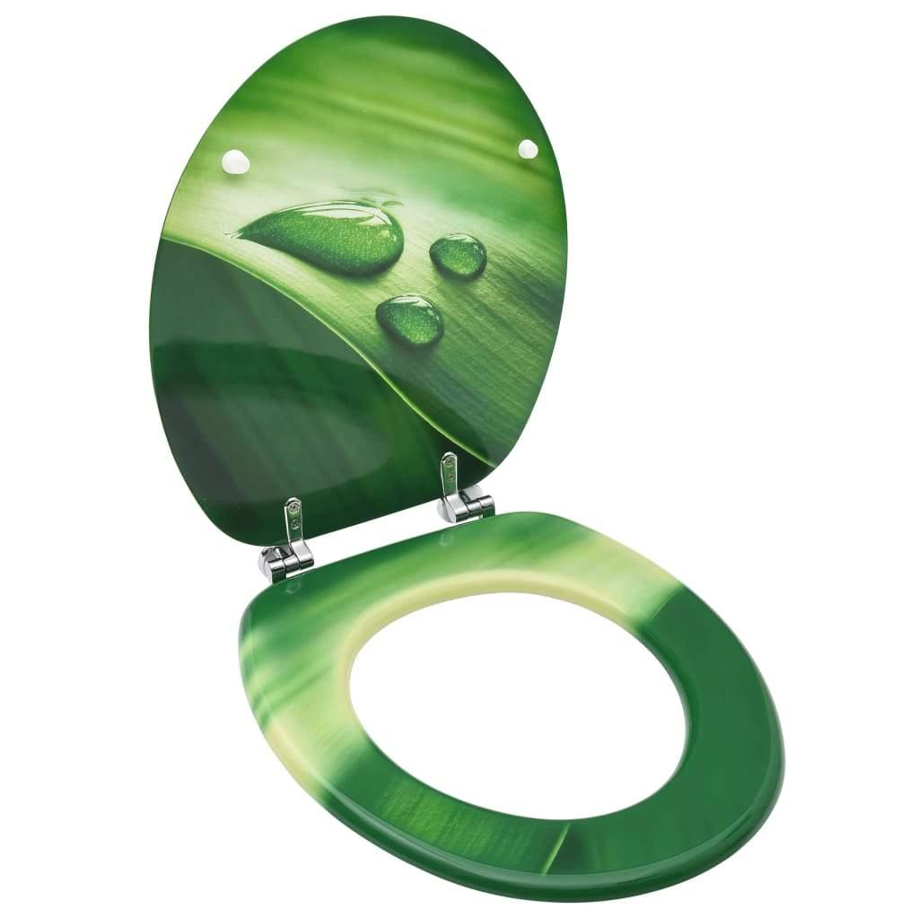 vidaXL WC Toilet Seat with Lid MDF Green Water Drop Design