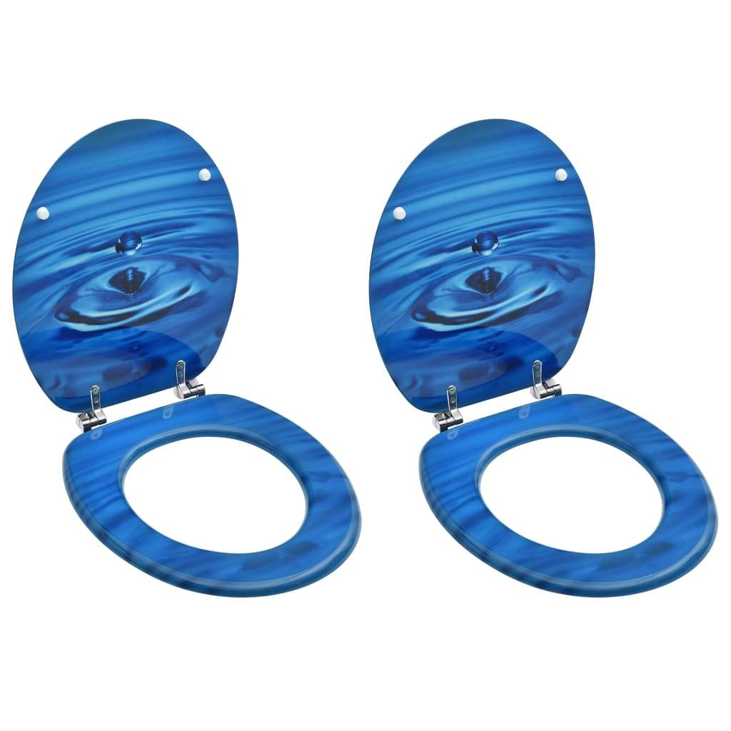 vidaXL WC Toilet Seats with Lid 2 pcs MDF Blue Water Drop Design