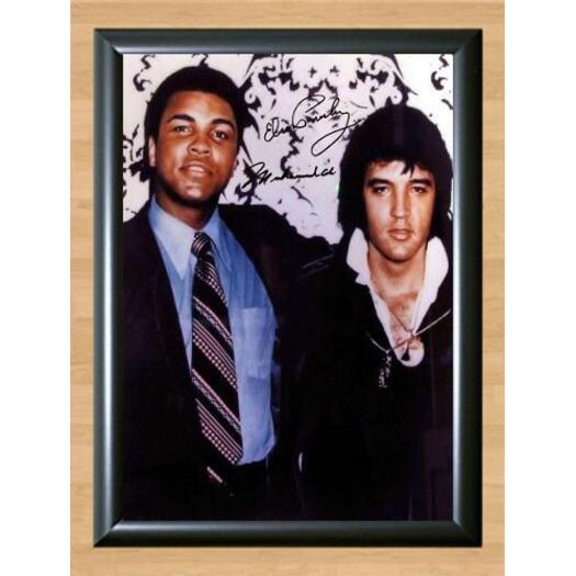 Framed Muhammad Ali /& Elvis Presley Autograph Replica Print 8x10 Print