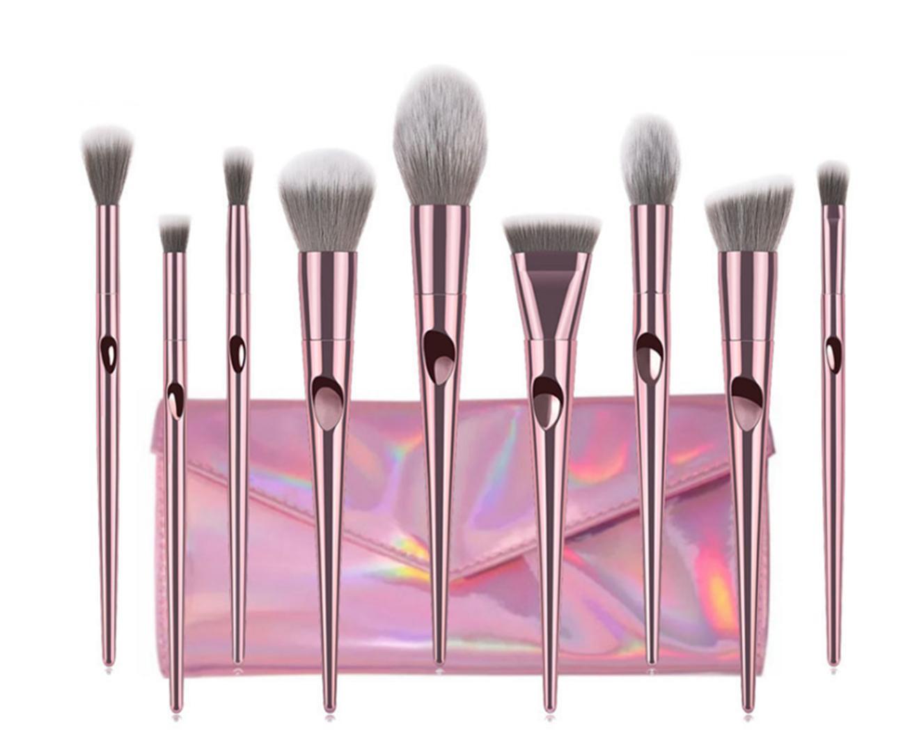 10Pcs Long-Pole Thumbprint Cosmetic Brushes Suit Professional Cosmetic Brushes