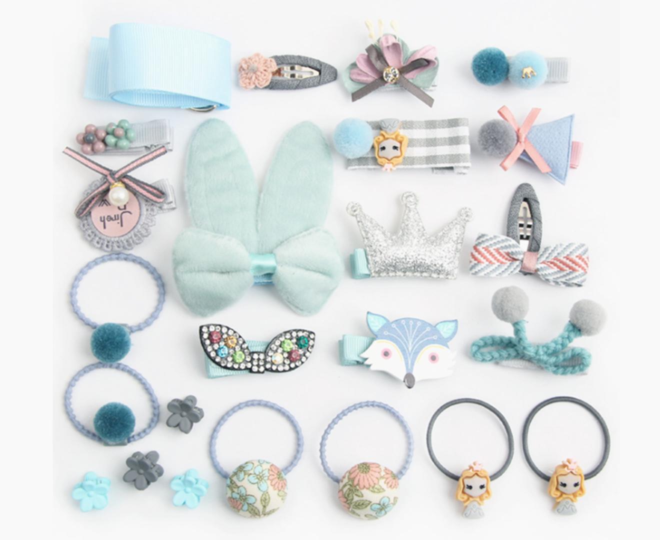 24Pcs Children'S Hair Ornament Set Girl'S Butterfly Tie Cartoon Clip Headdress Set - G