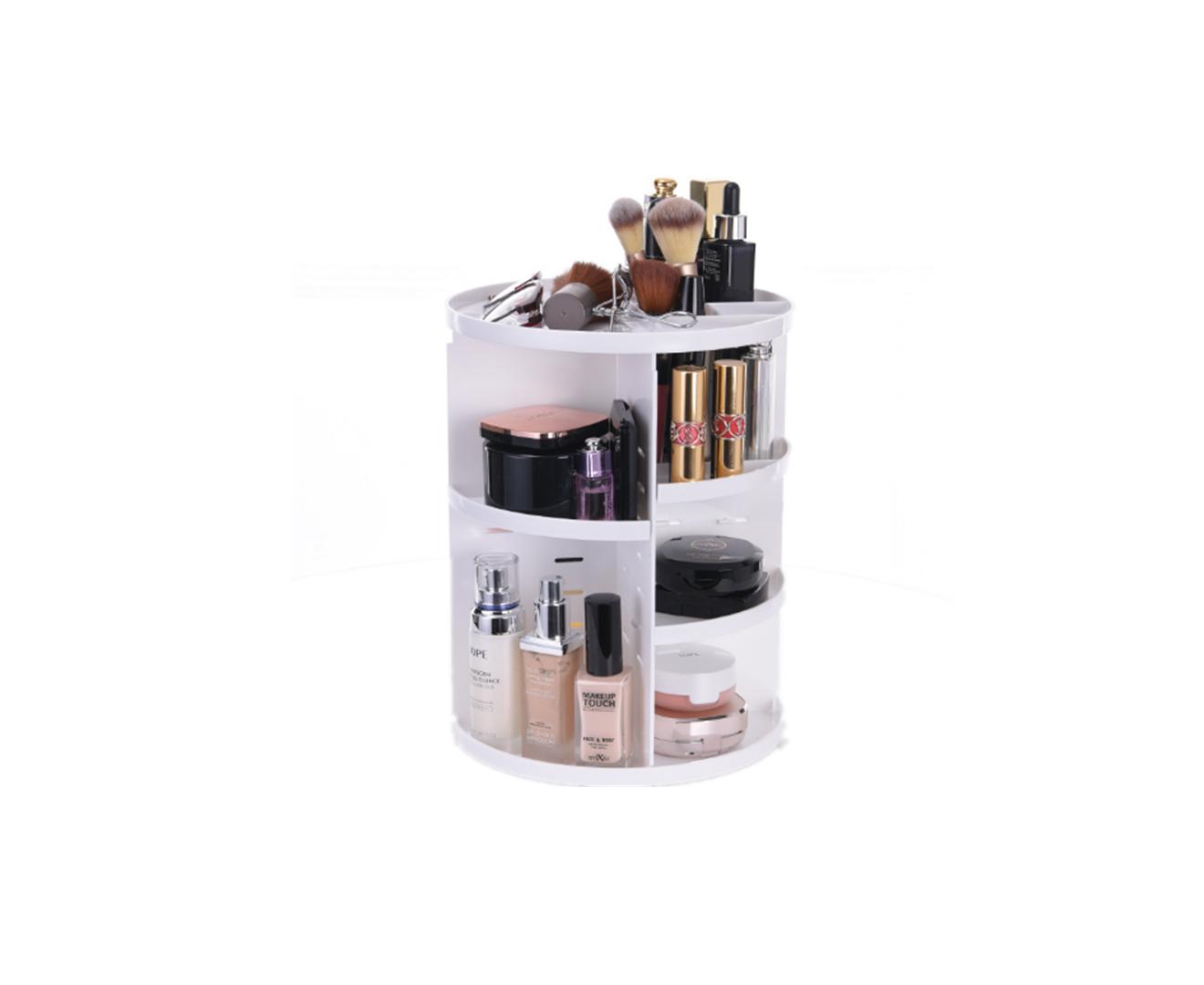 360-degree Rotating Makeup Rack Plastic Storage Box Storage Rack - WHITE
