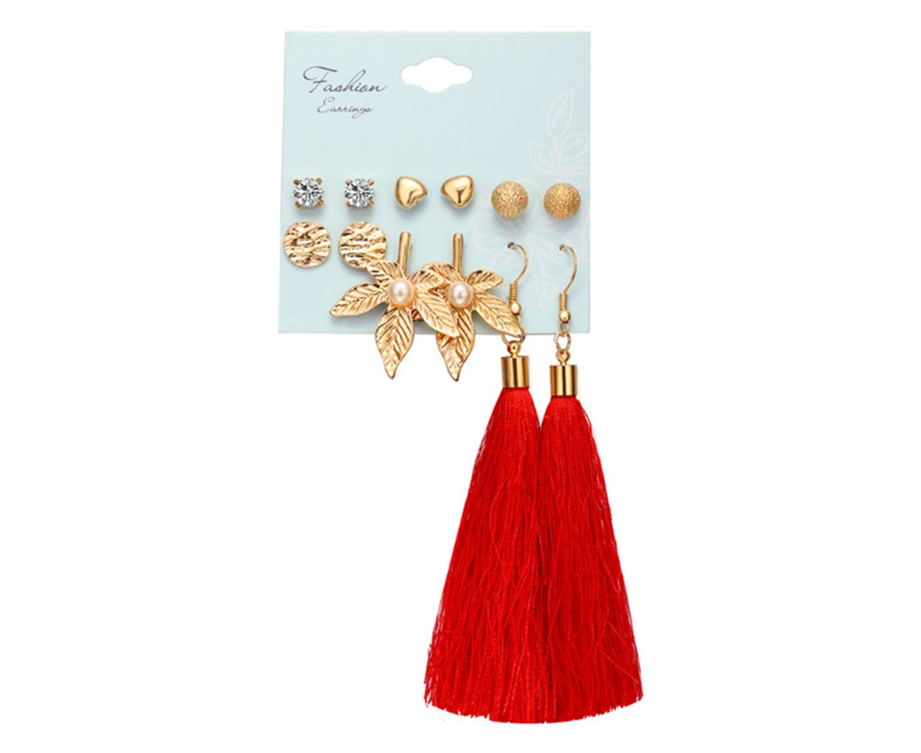 6Pcs Tassel Earrings Female Bohemian Ethnic Style Earrings - 6
