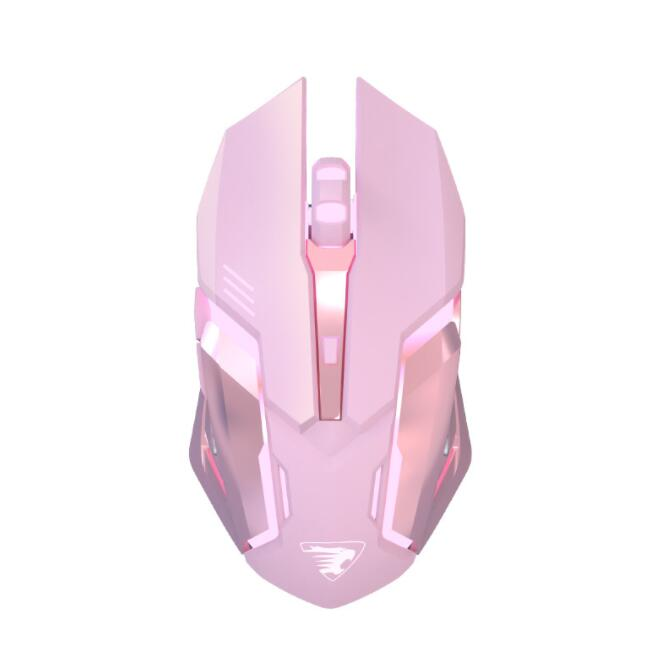 Bluetooth Wireless Mouse Girl Cute Pink Mute Game Rechargeable Mouse Desktop Laptop Mechanical Game 2400DPI Backlit Mouse