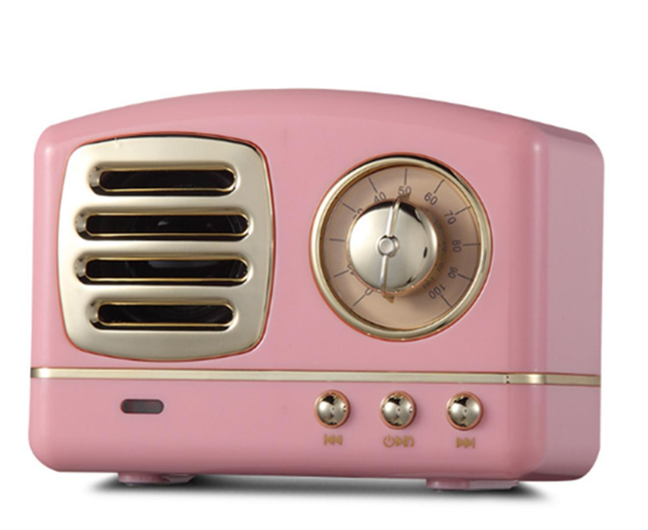 Creative Retro Bluetooth Audio Mini Portable High Quality with FM Bluetooth Small Speaker-Pink
