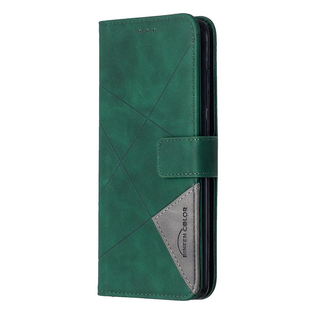 For Xiaomi Redmi Note 9S PU Leather Case Rhombus Holster Stripe Wallet Flip Cover Magnet Phone Bag