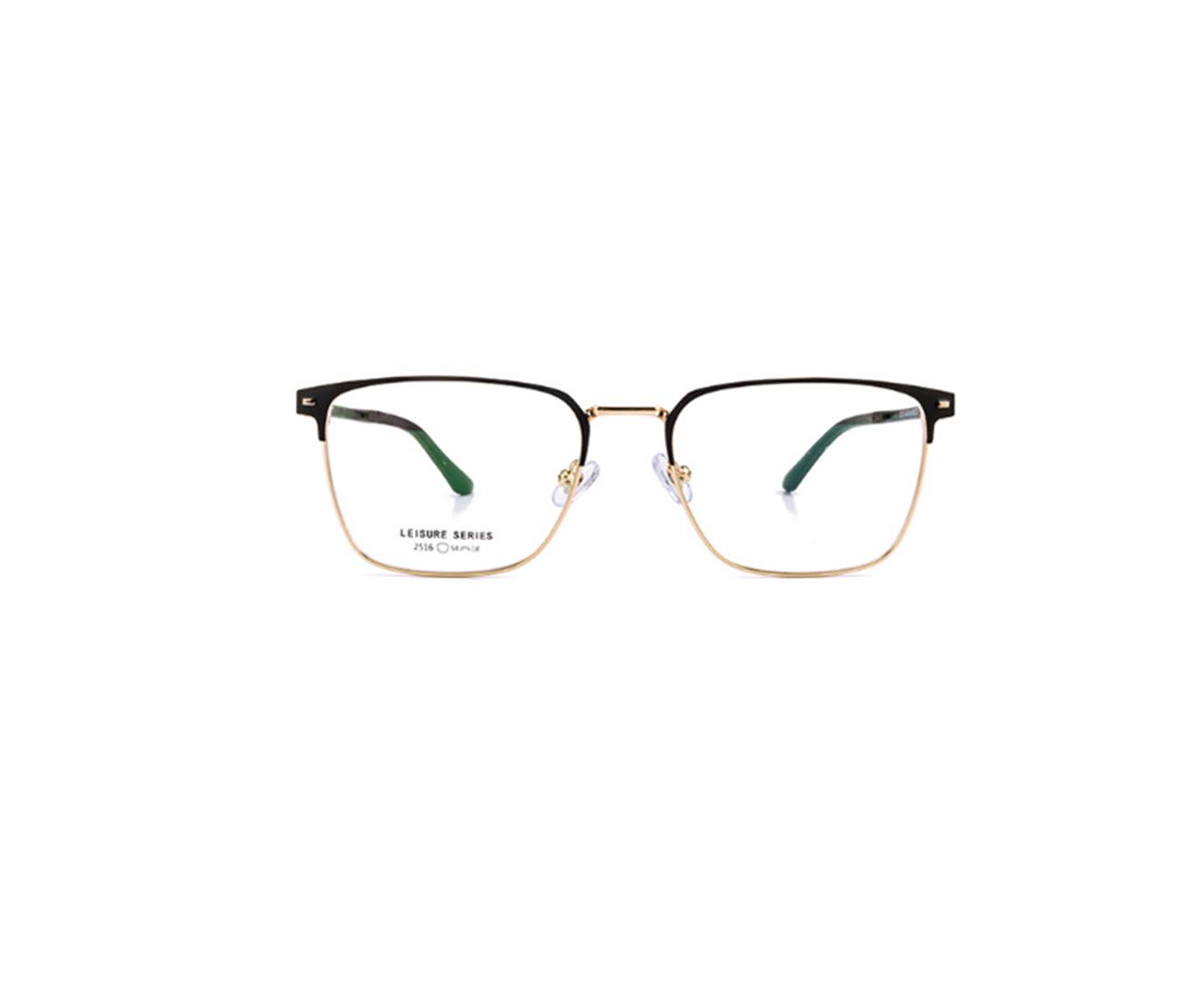 Metal Frame Clear Lens Business Glasses - Black Gold