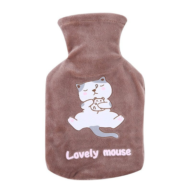 Portable Medium Size Cute Explosion-proof Hot Water Bottle Water Heating Water Bag Detachable Plush Coat Hand Warmers Mouse coffee