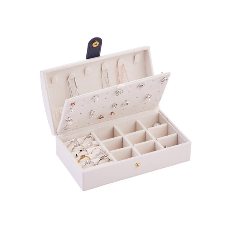 Portable Simple Earring Jewelry Box Small Earring Ring Multifunctional Jewelry Storage Box Suitable for Travel-White