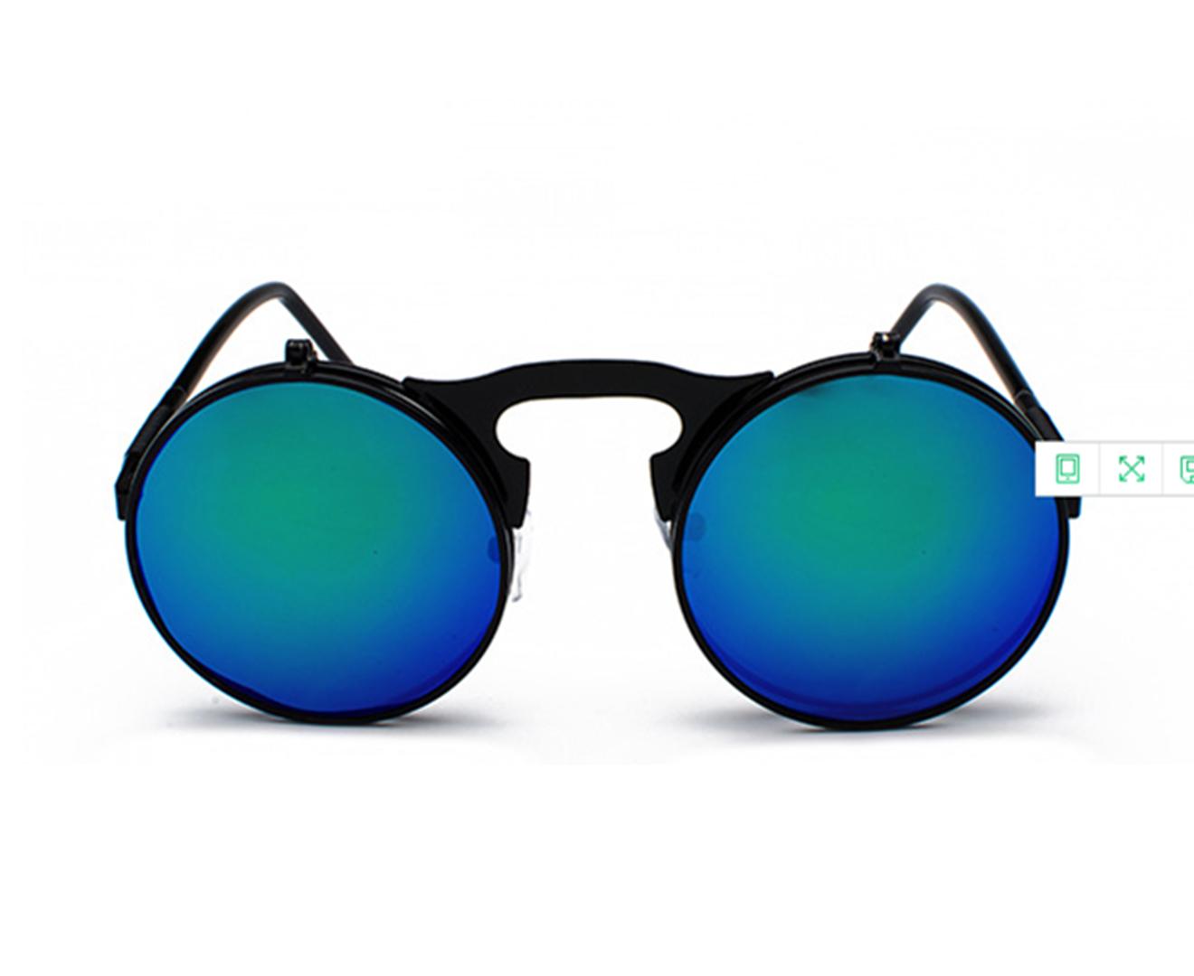 Retro Steam Punk Sunglasses Round Flip Up Metal Frame Sunglasses Women Men