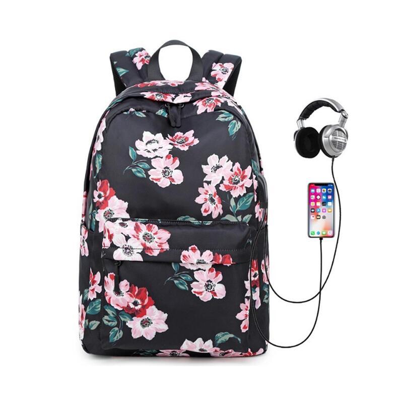 USB Backpack Computer Bag Casual Student School Bag Waterproof Travel School Bag Backpack-Black