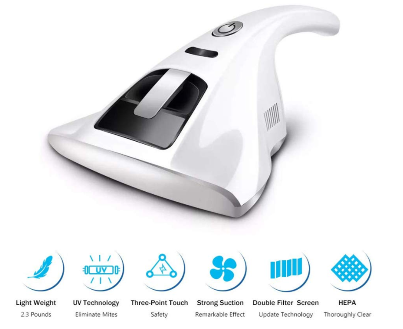 UV Vacuum Cleaner - 2019 Upgraded UV Anti-dust Vacuum Cleaner, Powerful Suctions Effectively Remove Dust -WHITE
