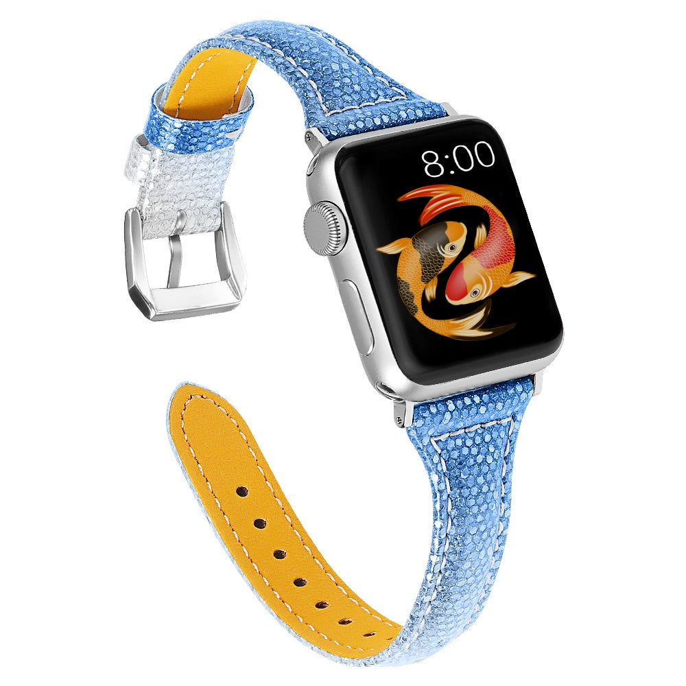 Woman Leather Gradient Color Bands ,Replacement Strap Wristband Compatible with Apple Watch Series 5/4/3/2/1 (SILVERBLUE, 42/44mm)