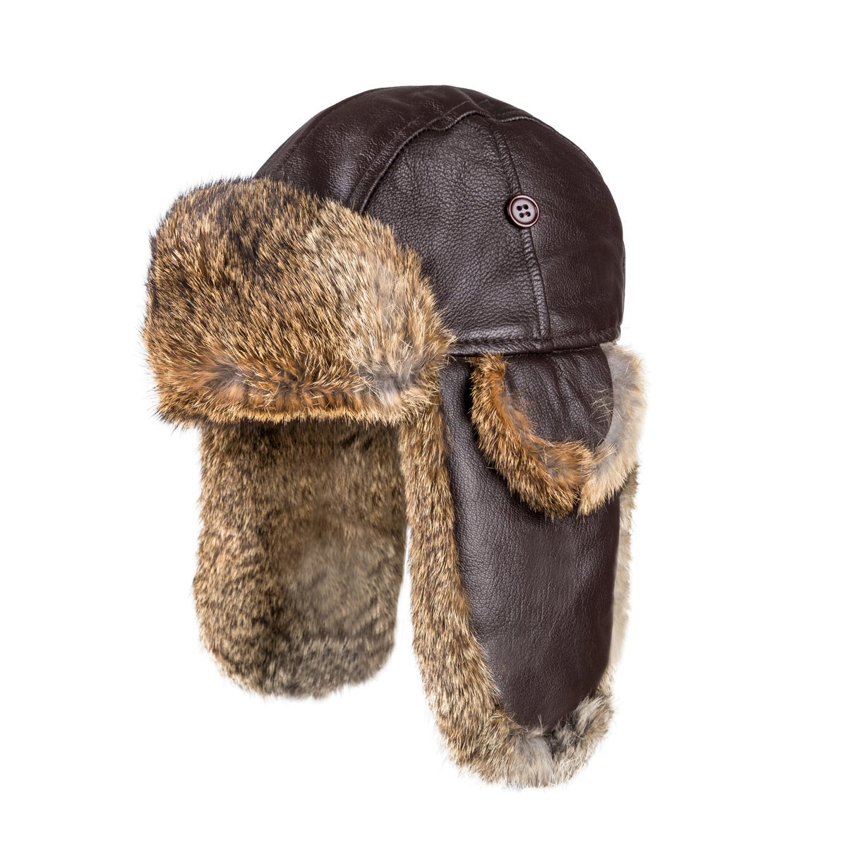 OZWEAR UGG VINTAGE RODEO LEATHER RABBIT FUR AVIATOR HAT