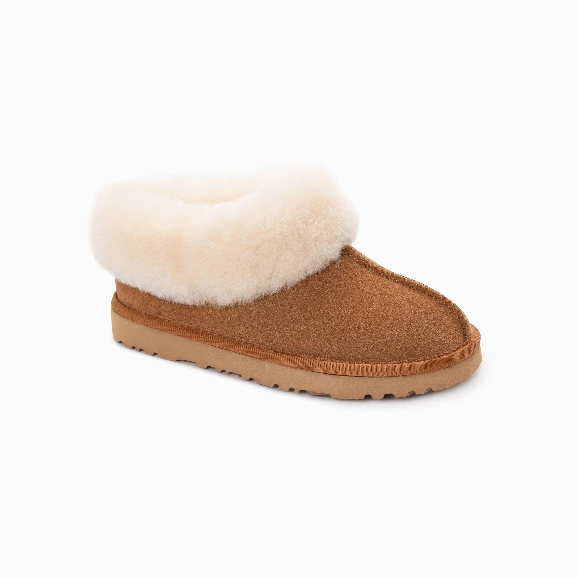 UGG Slippers Collar Unisex Premium Sheepskin Slippers Suede