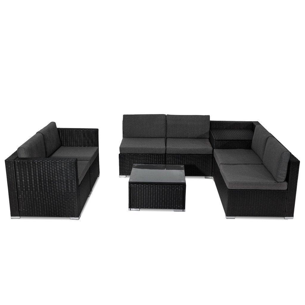 8PCS Outdoor Furniture Modular Lounge Sofa Lizard - Black