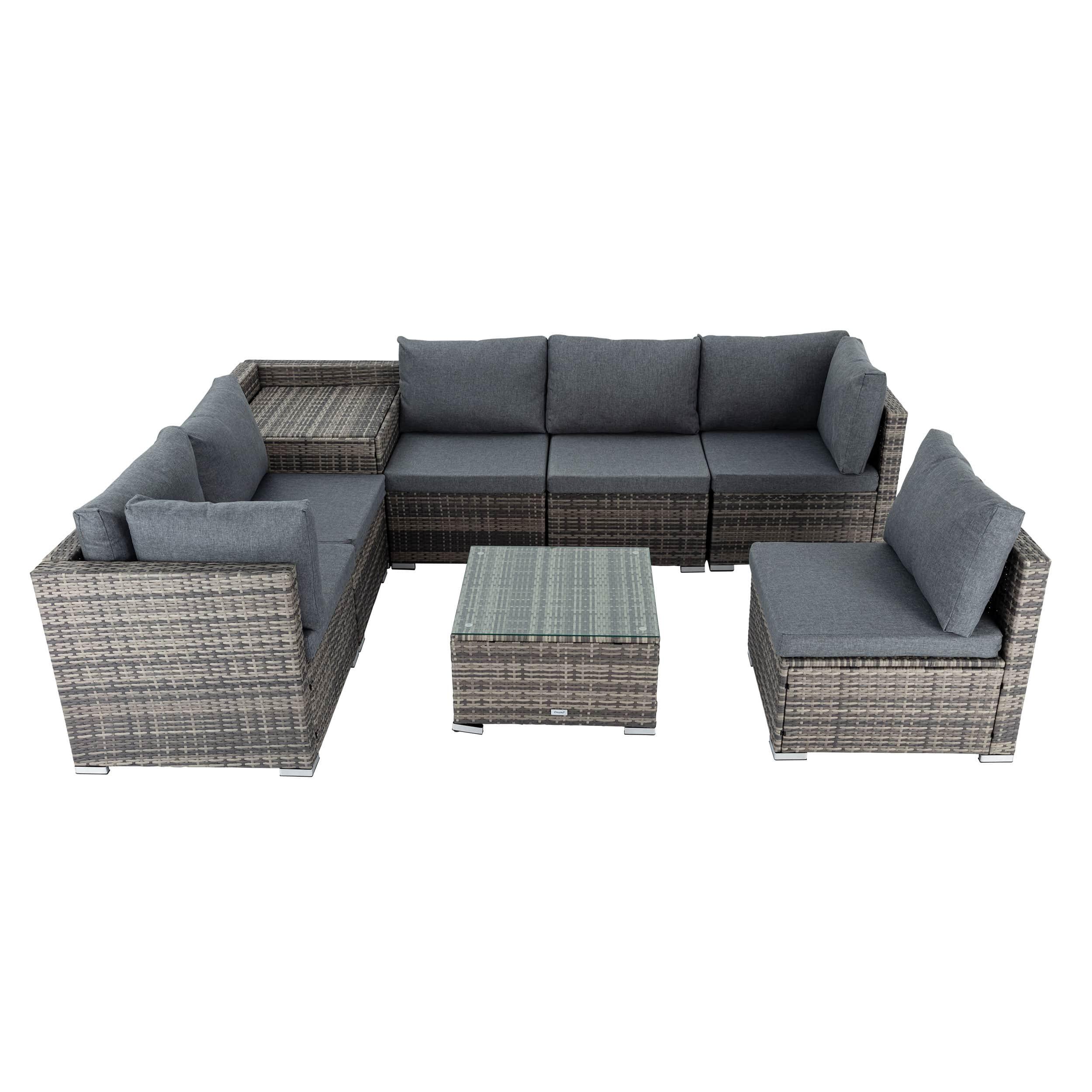 8PCS Outdoor Furniture Modular Lounge Sofa Lizard - Grey