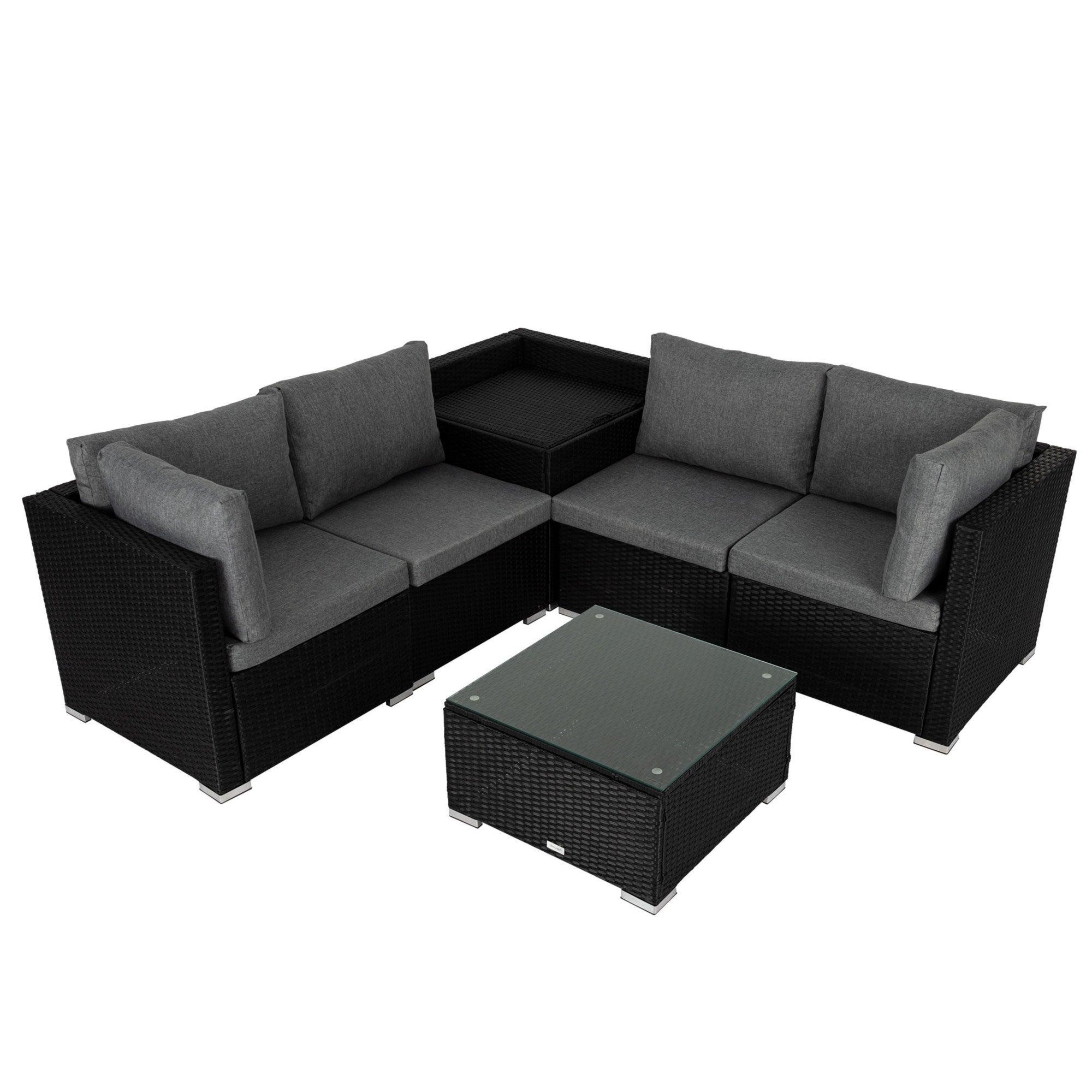 6PCS Outdoor Modular Lounge Sofa Coogee - Black