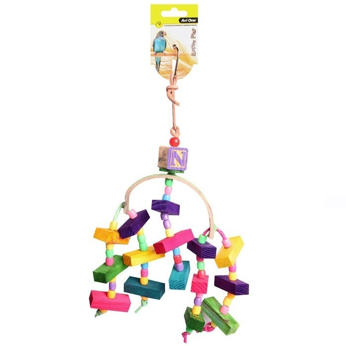 Arc With Wooden Blocks And Beads 34cm Bird Toy (Avi One)