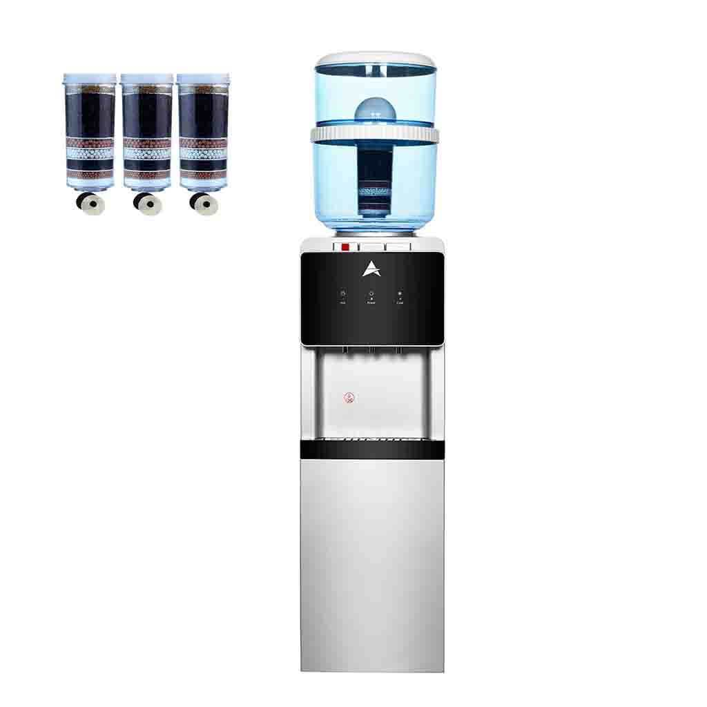 Aimex Water Cooler Silver Black Floor Standing Water Cooler With 3 Water Filters
