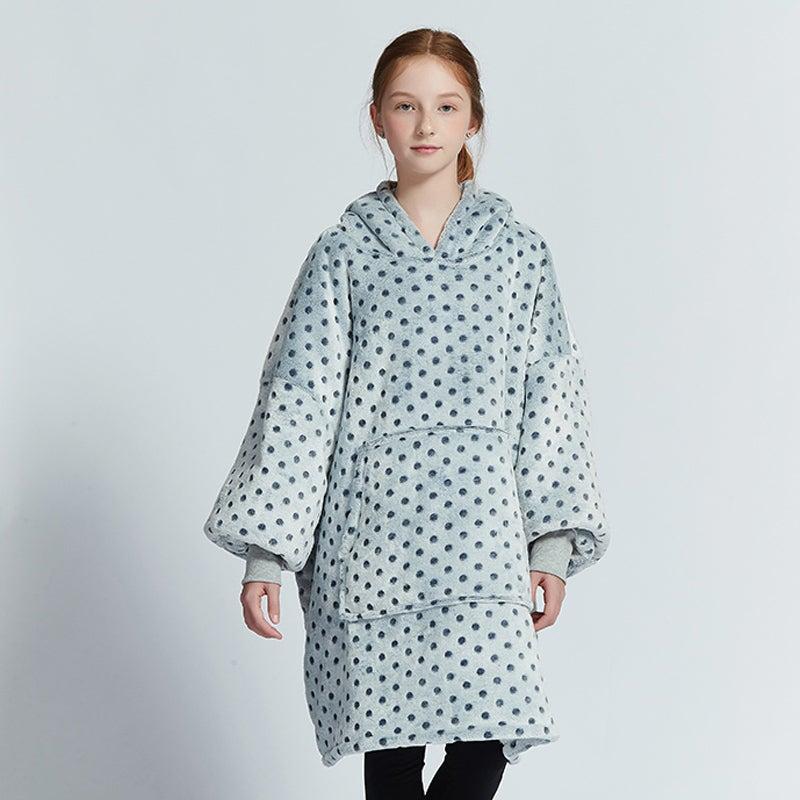 Olivia Yip -Blue Grey Blanket Hoodie For Kids
