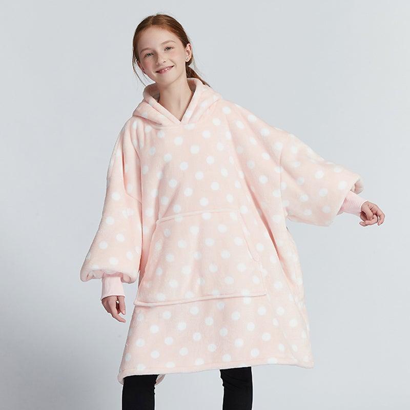 Olivia Yip -Pokdot Print Blanket Hoodie For Kids