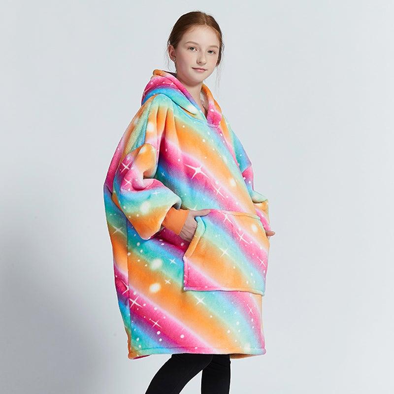 Olivia Yip -Rainbow Blanket Hoodie For Kids