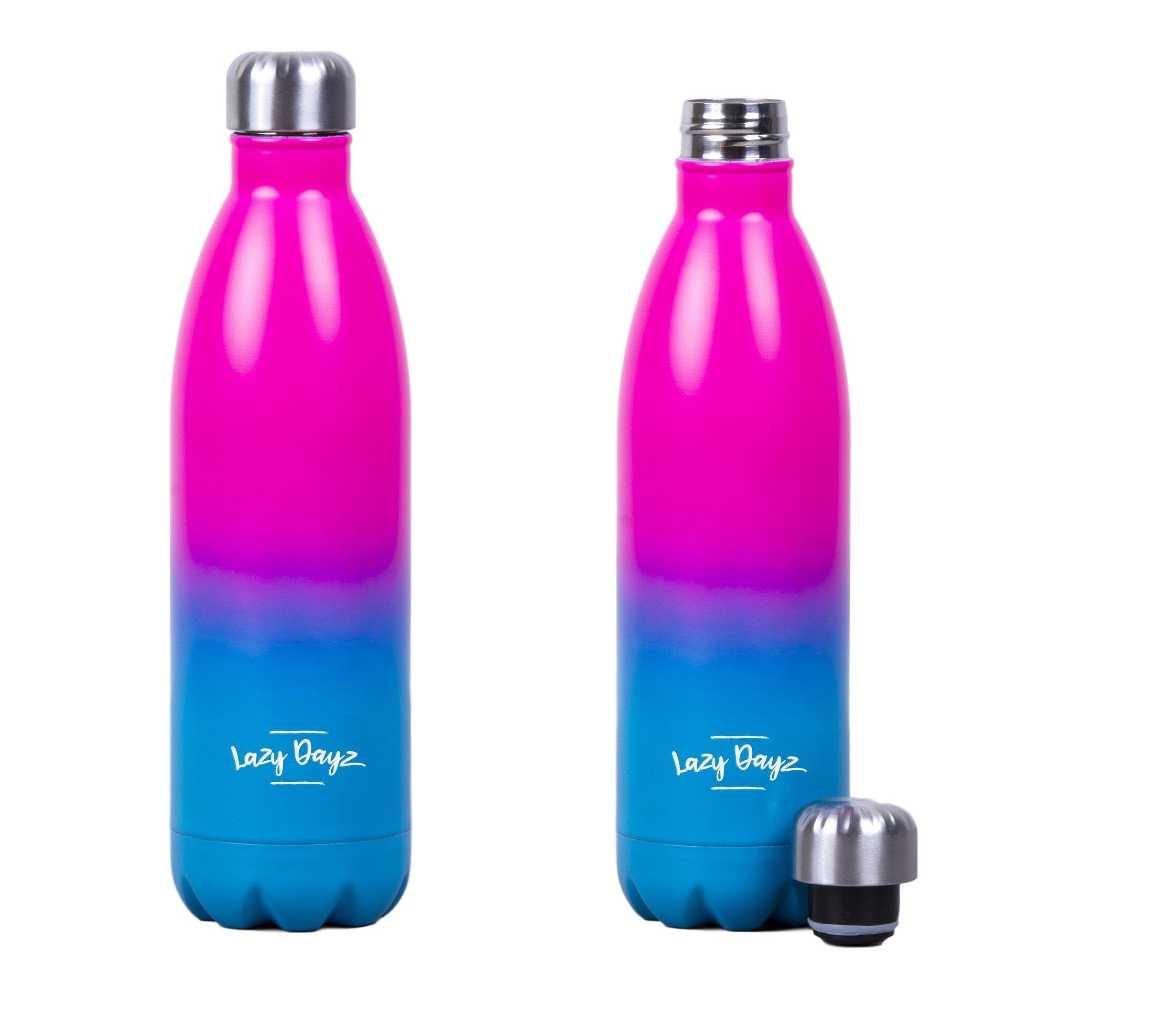 1L Jumbo Stainless Steel Water Drink Bottle Insulated Double Walled Hot/Cold Cycling Gym Outdoor (Pink Blue Ombre)