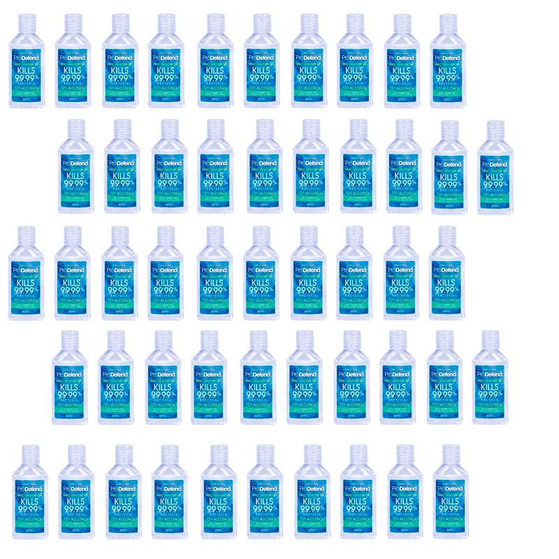 50x Clevinger ProDefend Hand Sanitiser Gel 60ml 72% Ethanol
