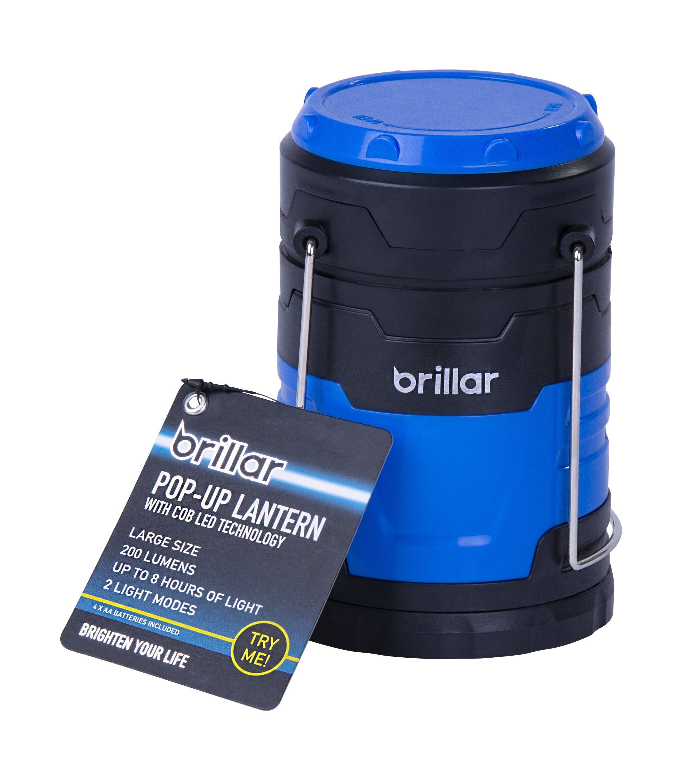 COB LED Large Popup Lantern BLUE Compact Design Durability Easy Carry Storage 4 AAA Batteries Included