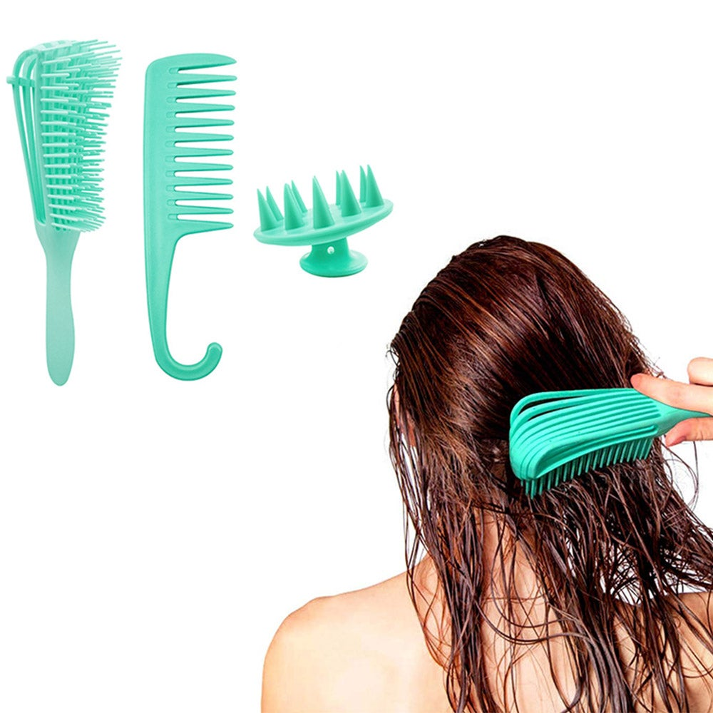 1 Set or 2 Sets 3pcs Detangling Hair Brushes Scalp Massager Brush Hair Detangler Brush and Wide Tooth Comb Hair Care Brush Sets