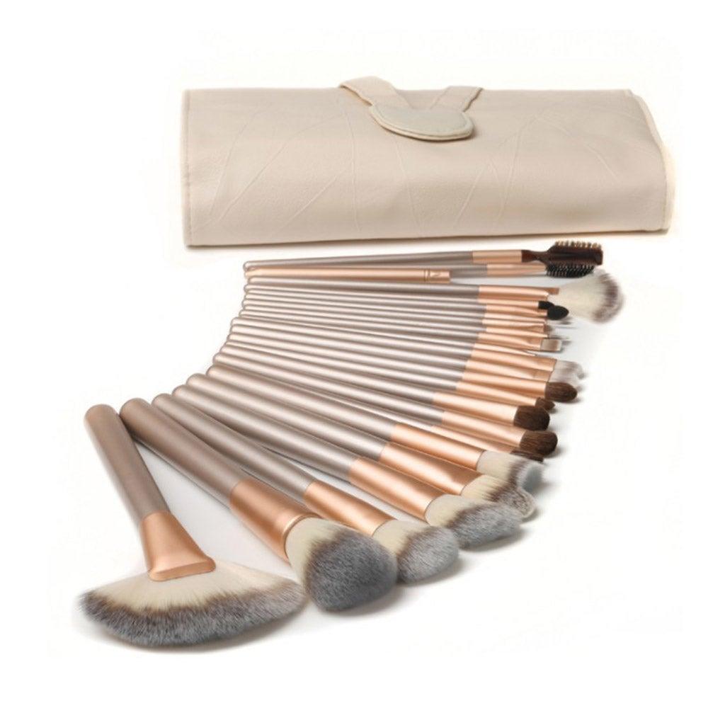 12/18/24Pcs Champagne Gold Make-Up Brush Set