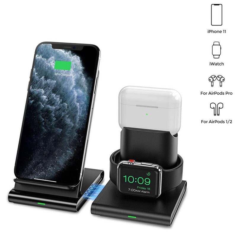3 in 1 Wireless Charger Magnetic Fast Charging Dock Desktop Phone Wireless Charger Wireless Charging Stand for iPhone/iWatch/AirPods
