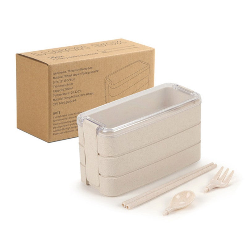 3-Layer Bento Lunch Box Food Containers with Fork Spoons Chopsticks