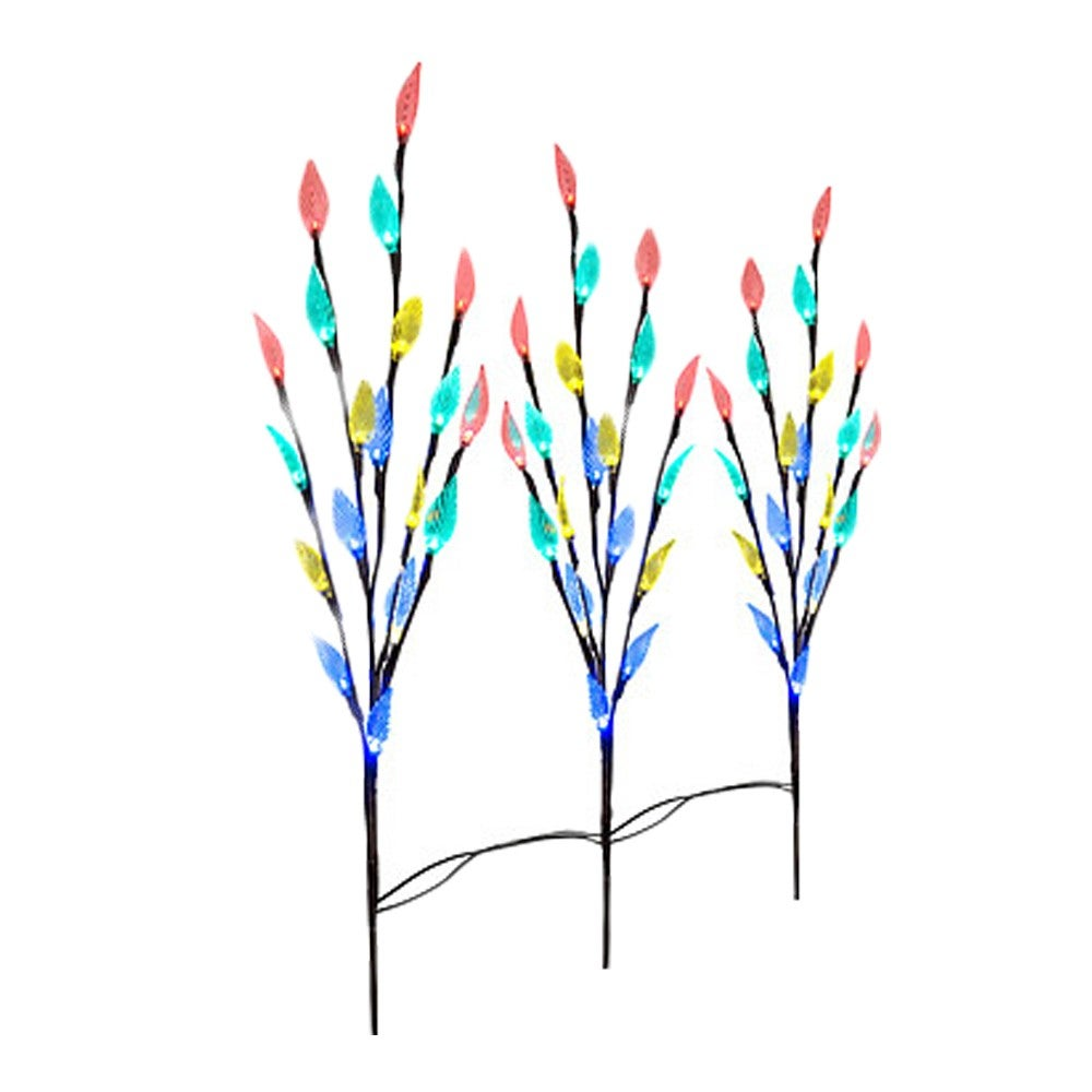 3pcs Outdoor Garden Lawn 60 LED Solar Power Branch Tree Leaf Flower Light set