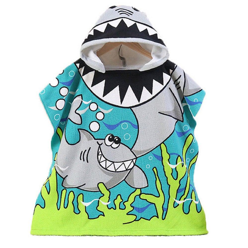Kids Hooded Beach Bath Towel Cute Cartoon Swimming Towel Soft Swim Poncho Quick-Dry Hooded Bath Towel Cover-Up